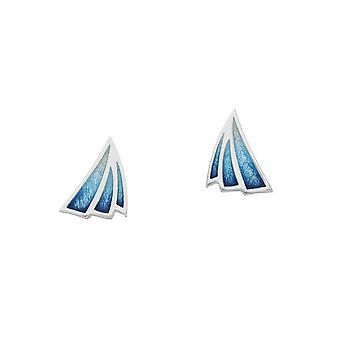 Sterling Silver Traditional Sail Away Boat Shaped Design Pair of Earrings - EE474