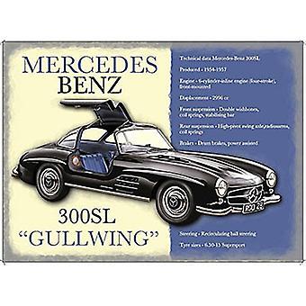Mercedes 300Sl Gullwing небольшой металлический знак 200 X 150 мм