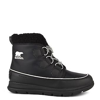 Sorel Explorer Carnival Black Sea Salt Fleece Lined Boot