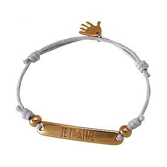 Mulheres - pulseira - gravada - por T ´ AIMÉ - rosa dourados - cinza claro