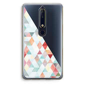 Nokia 6 (2018) gjennomsiktig sak (myk) - fargede trekantene pastell