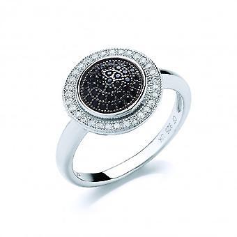Bague cercles Français noir zircon clair cube Cavendish