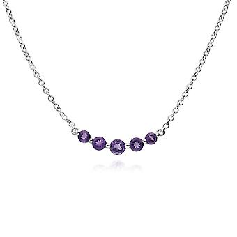 Classic Round Amethyst Gradient 5 Stone Necklace in 925 Sterling Silver 270N034103925