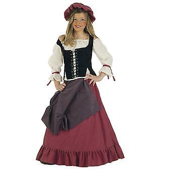 Middelalderske vertinne girl kostyme Builder maid barna drakt