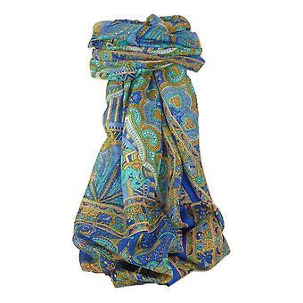 Klasyczny Paisley długi szalik Mulberry Anya francuski niebieski przez Pashmina & Silk jedwab