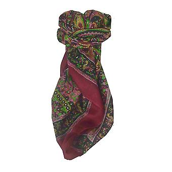 Mulberry Silk Traditional Square Scarf Mahe Red by Pashmina & Silk