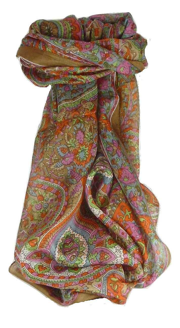 Mulberry Silk Traditional Long Scarf Rajeet Chestnut by Pashmina & Silk