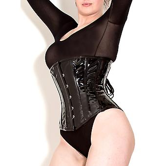 Killer Corsets Women's Corset in PVC Black Hot Studded Overbust Nipped Waist