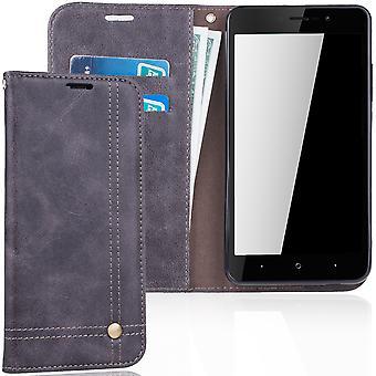 Cell phone cover case voor WIKO Lenny 4 plus dekken Wallet case grijs