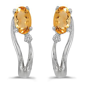 LXR 14k oro blanco ovalado citrino y diamantes wave pendientes 0.3ct