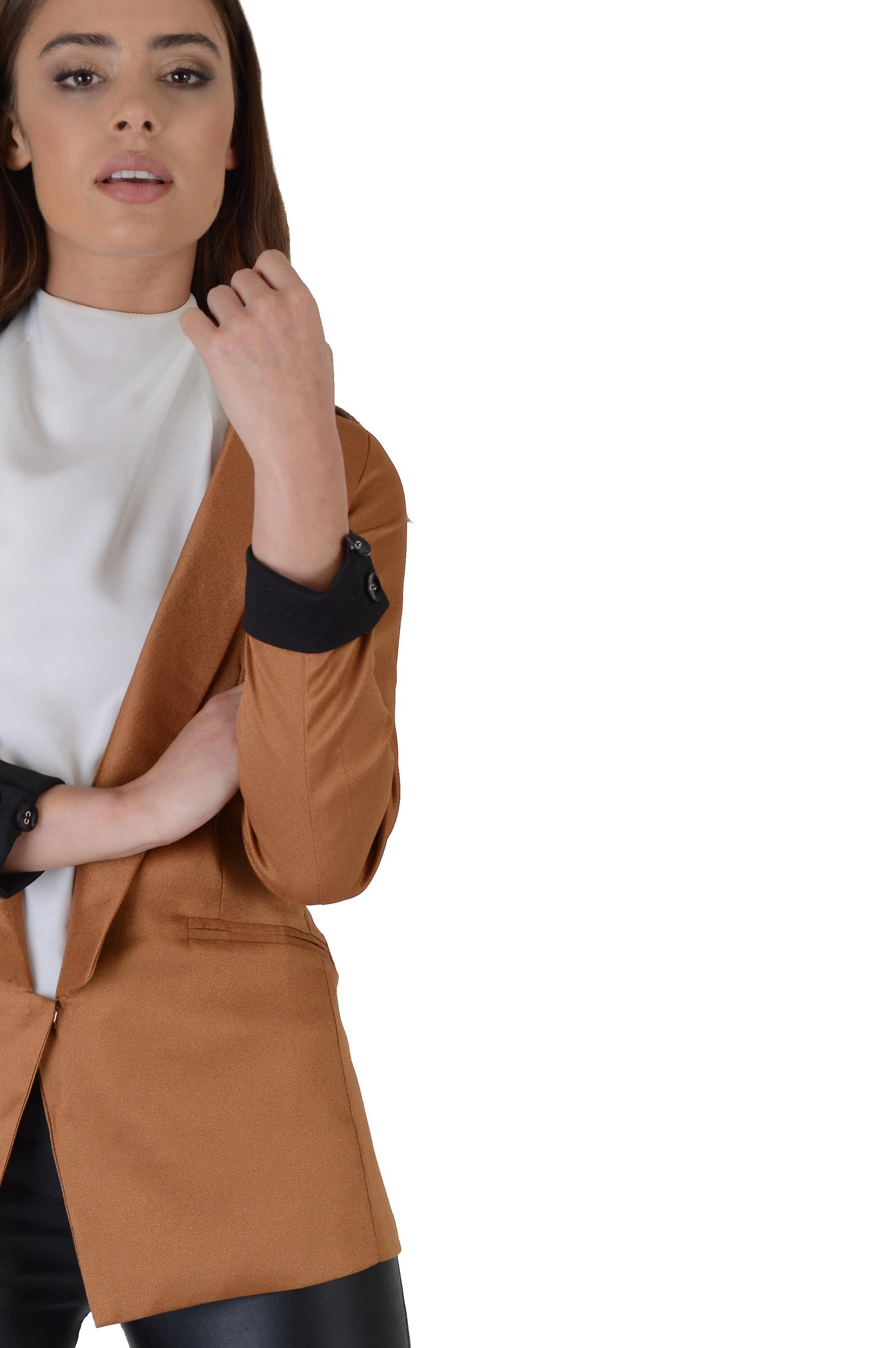 Lovemystyle Blazer With Long Line Collar In Camel