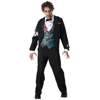 Mens Gruesome Groom Zombie Horror Halloween Fancy Dress Costume