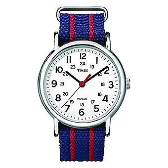 Timex T2N747 wrist watch, analog, Unisex, fabric, white/blue