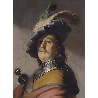 A Warrior, Rembrandt, 50x37cm