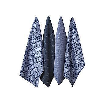 Ladelle Set of 4 Microfibre Honeycomb Dusky Blue Tea Towels