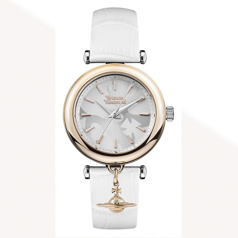 Vivienne Westwood Vv108rswh Trafalgar White And Rose Gold Leather Watch