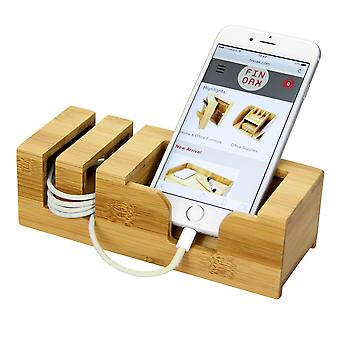 Woodquail Bamboo Desk Mobile Phone Stand Holder Display Desktop Tidy Organiser