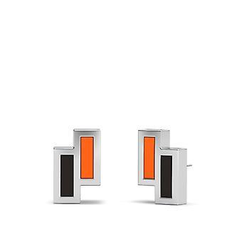 Idaho State University Sterling Silber asymmetrische Emaille Ohrstecker In Orange und schwarz