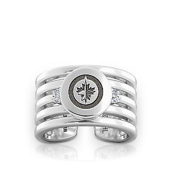 Winnipeg Jets Engraved Sterling Silver Diamond Multiband Cuff Ring