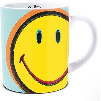 Smiley Pop Art Style Mug, Bluey Green