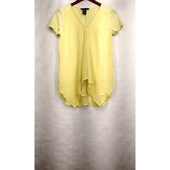 Kate & Mallory Top Mixed Media Short Sleeved Front Ruffle Yellow A426071