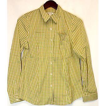 Liz Claiborne York Long Sleeve Shirt Gingham Dandelion Green A213273