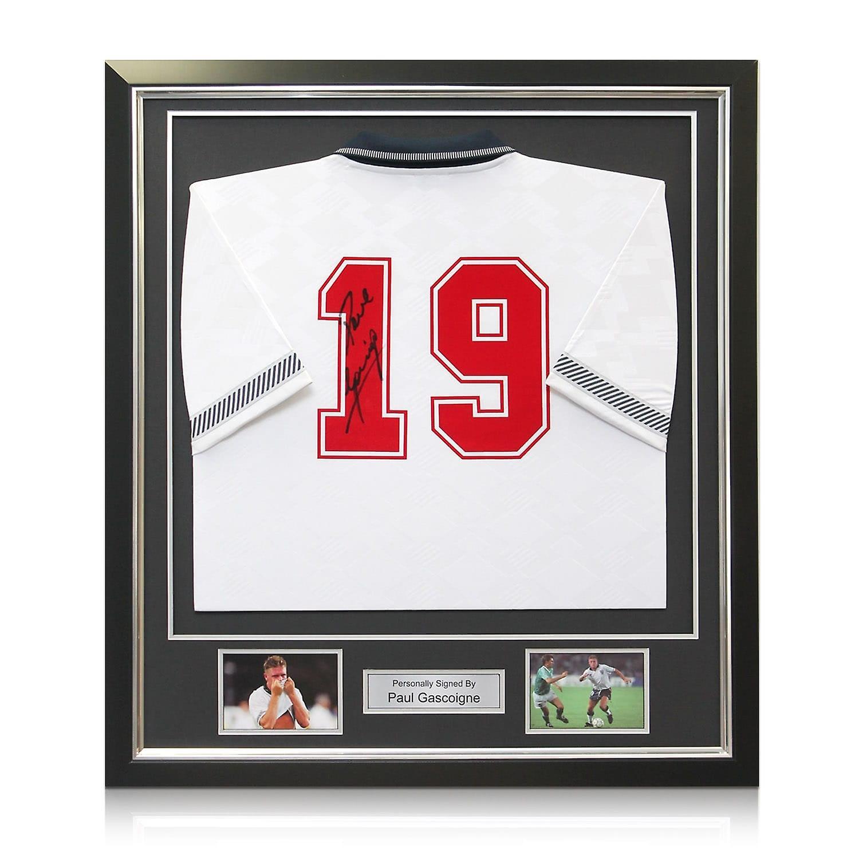 Paul Gascoigne Signed England 1990 Football Shirt. Framed