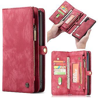 CASEME Samsung Galaxy Note 10 Carteira de couro retro Case-red