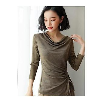 Round Neck  Drawstring Large Size Long-sleeved Shirt