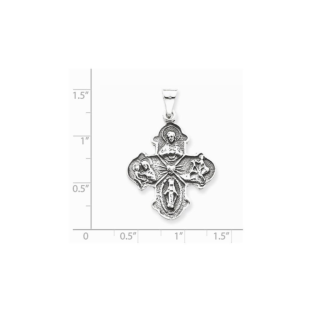 925 Sterling Silver Solid Polished finish Religious Faith Cross Charm Pendant Necklace Jewelry Gifts for Women