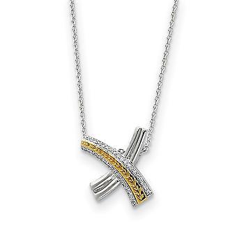 925 Sterling Silver Polished Spring Ring acentuado ouro plating CZ Cubic Zirconia Simulado Colar de Diamante 18 Polegadas Jewe