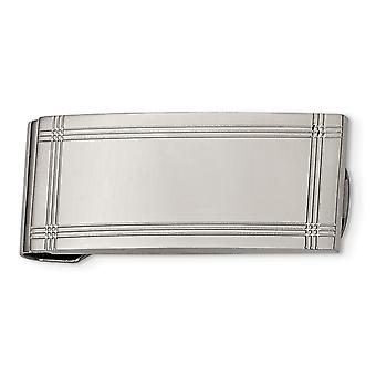 Stainless Steel Polished and Grooved Money Clip Jewelry Gifts for Men