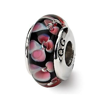 925 Sterling Silver Polished Reflections Red Black Murano Glass Bead Charm Pendant Necklace Jewelry Gifts for Women