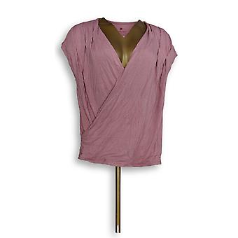 Laurie Felt Women's Top Knit V-Neck Crossover Top Pink A352538
