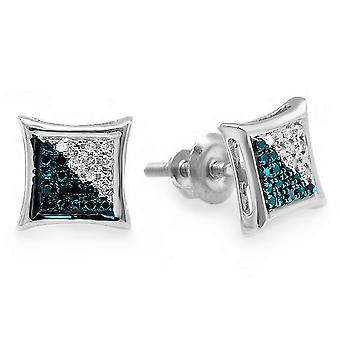 Dazzlingrock Collection 0,10 Carat (ctw) Rund blå & hvit diamant Micro pave kite form stud øredobber, Sterling sølv