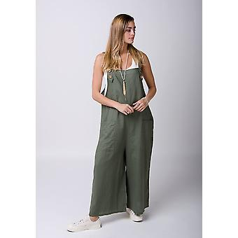 Saffy ladies lightweight loose fit linen dungarees green