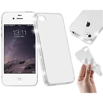 Cadorabo fodral för Apple iPhone 4 / iPhone 4S - Fall i TRANSPARENT VIT - TPU Silikon telefonfodral i Strass Design - Silikon fall skyddande fall Ultra Slim Soft Back Cover Case Bumper