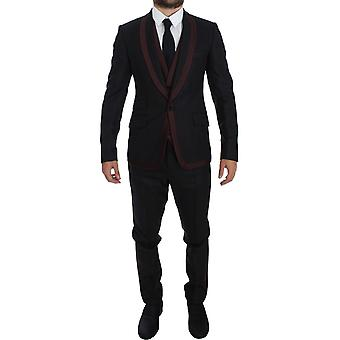 Gray Striped 3 Piece Slim Fit One-Button Suit Tuxedo