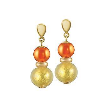 Evig samling Veneto brent oransje Murano-Glass gull Tone slipp pierca øredobber