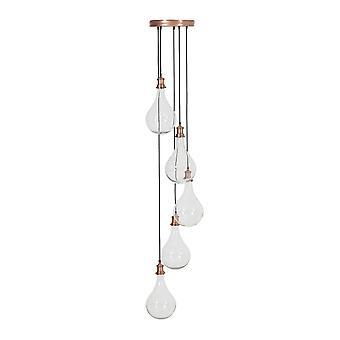 Light & Living Quirina Glass Antique Copper Hanging Pendant Lamp 5L D30x190cm
