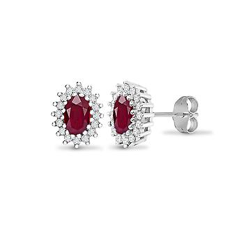 Jewelco London Ladies 9ct White Gold Cluster Set Round H I2 0.25ct Diamond and Oval Red 1.2ct Ruby Cluster Stud Earrings