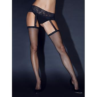 Suspender pantyhose with black lace