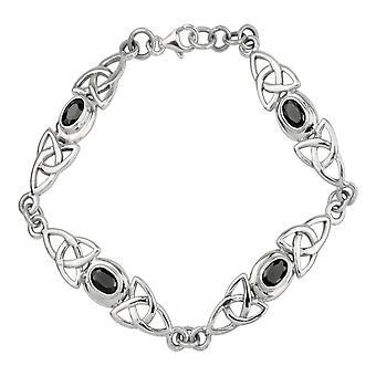 Celtic Eternity sammanflätad Holy Trinity Knot armband-svart stenar
