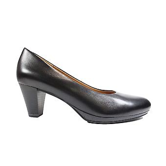 Caprice 22409 Black Leather Womens Slip On Heeled Court Shoes