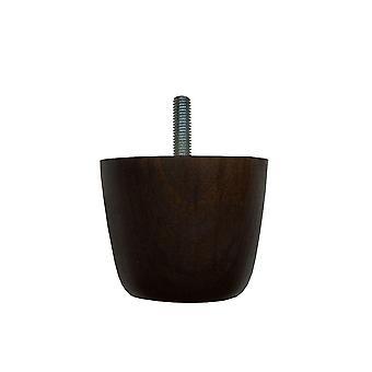 Round dark brown wooden furniture leg 5.5 cm (M8)