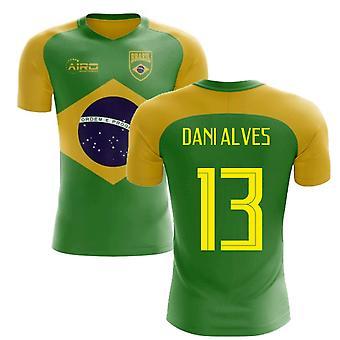2020-2021 البرازيل مفهوم العلم لكرة القدم قميص (داني ألفيس 13)