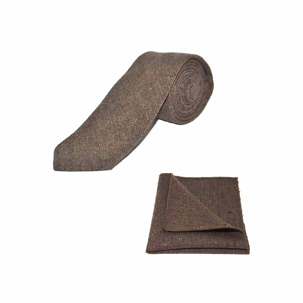 Highland Weave Hessian Brown Men's Tie & Pocket Square Set   Boxed