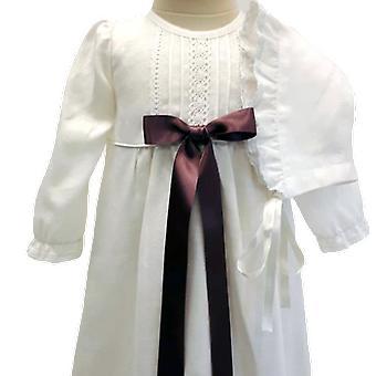 Dopklänning Och Dophätta, Ljungfärgad Bred Rosett. Grace Of Sweden