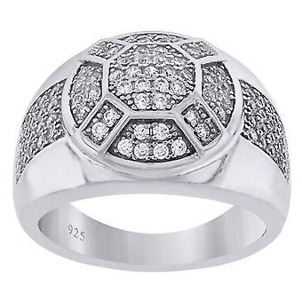 925 Sterling Silver Mens CZ Cubic Zirconia Simulated Diamond Cluster Round Fashion Ring Band Jewelry Gifts for Men - Rin