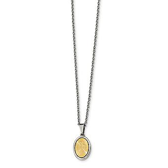 Stainless Steel Polished Yellow Ip plated Laser Cut Mary Necklace 22 Inch Jewelry Gifts for Women